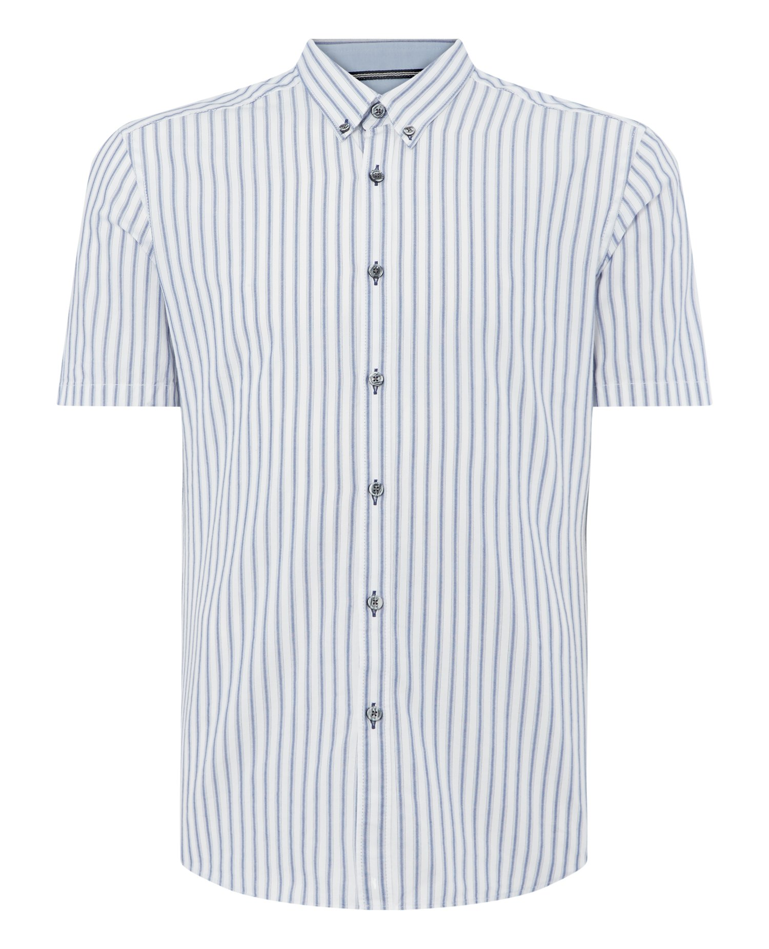 Slim Fit Striped Cotton Short Sleeve Shirt