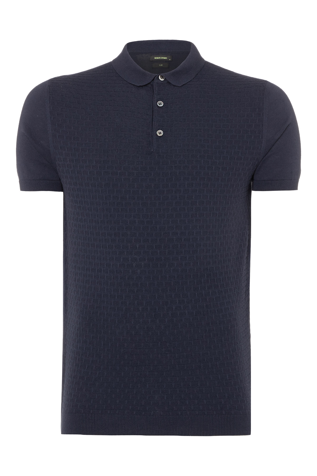 Slim fit knitted cotton polo
