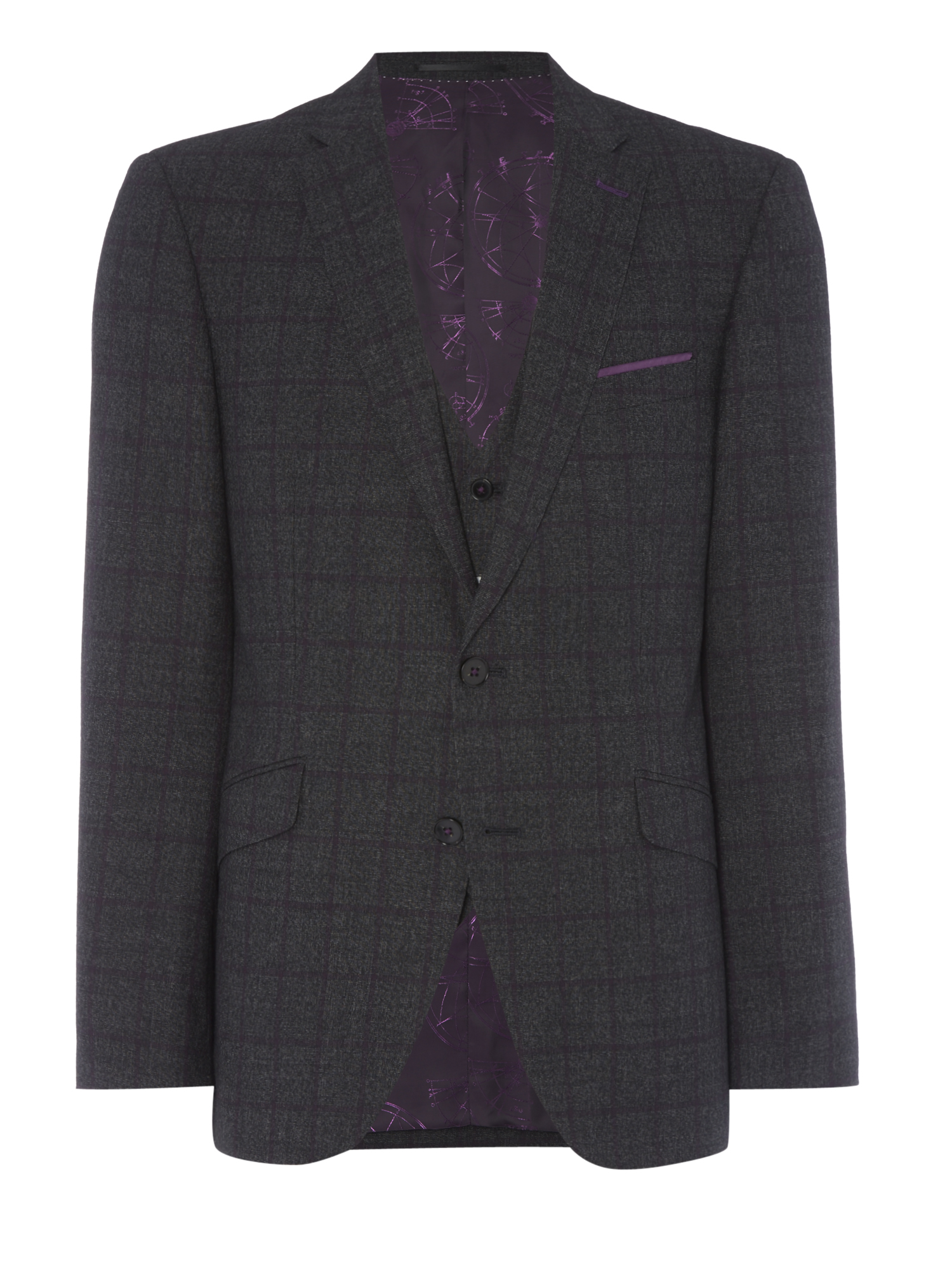 Tapered fit checked pure wool mix n match suit