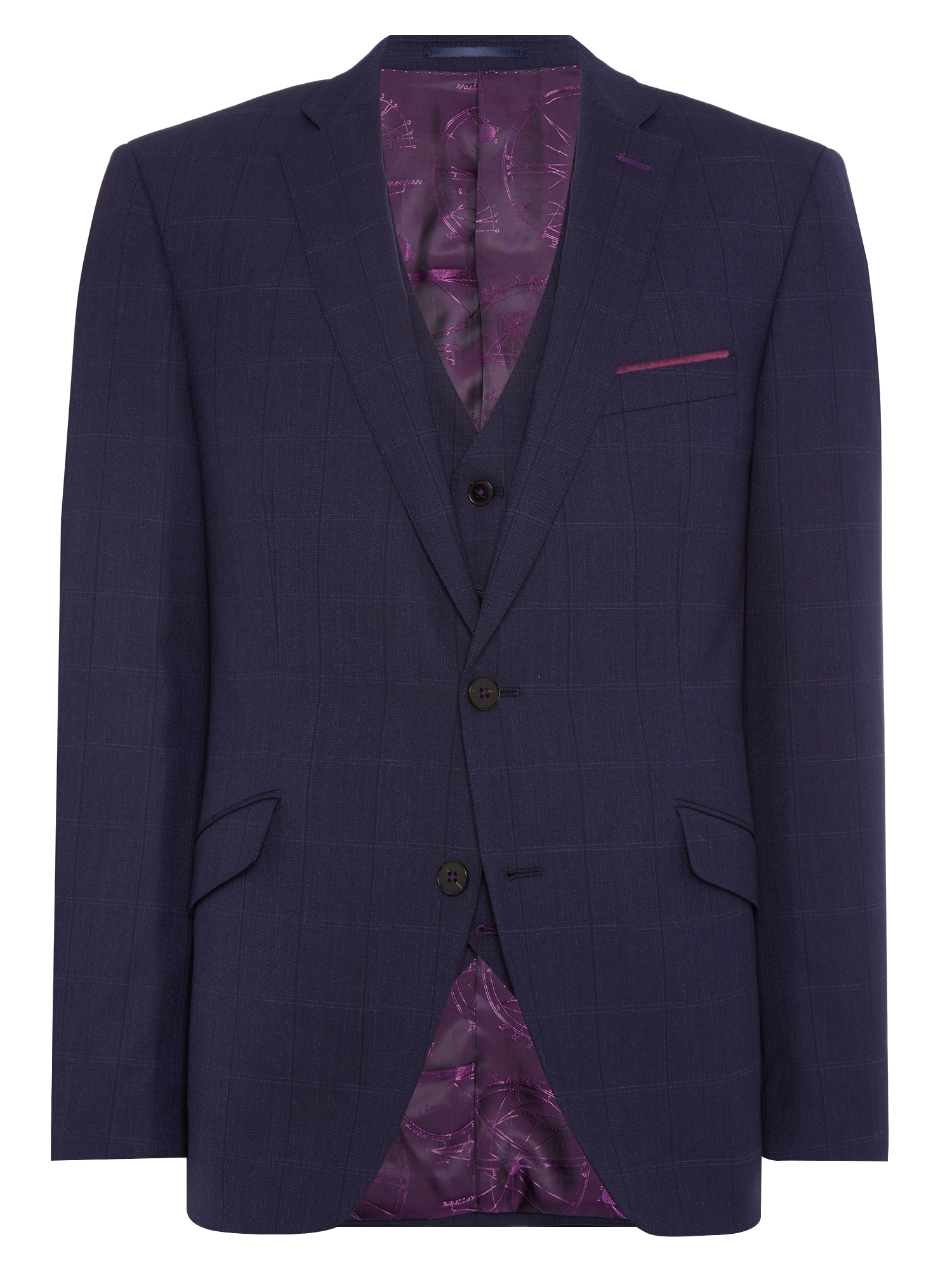 Tapered fit checked wool-rich stretch mix n match suit