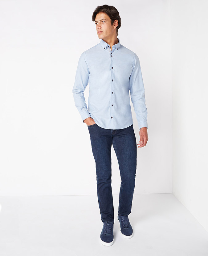 Tapered Fit Plain Oxford Casual Shirt