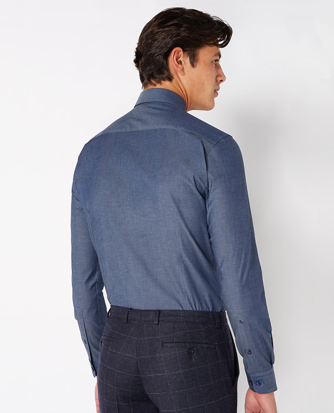 Slim Fit Chambray Cotton-Stretch Shirt