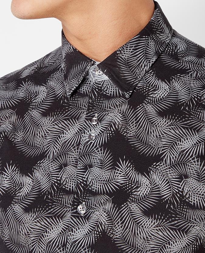 Slim Fit Printed Cotton Shirt