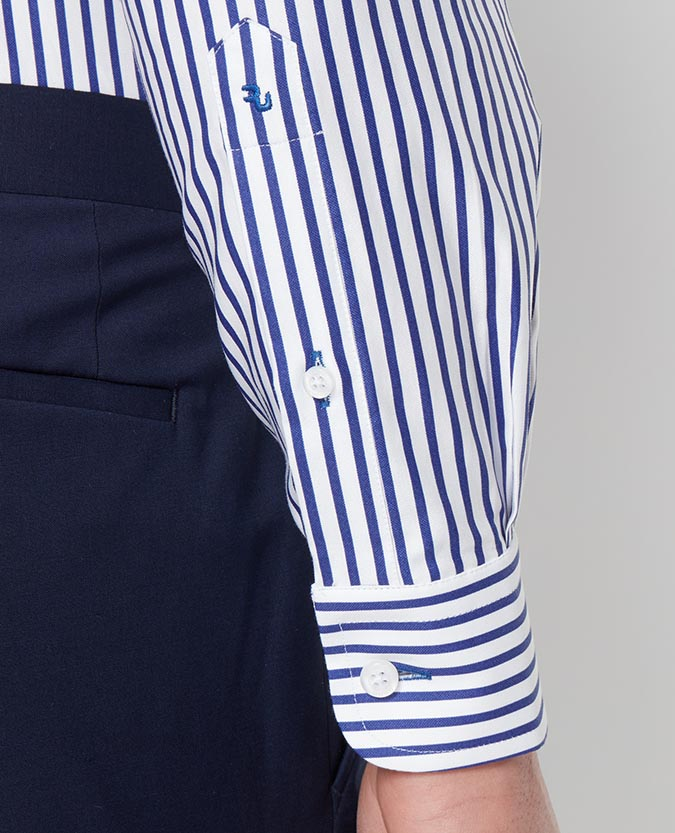 Tapered Fit Stripe Cotton Shirt