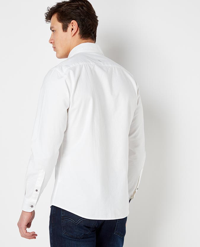 Tapered Fit Cotton-Linen Shirt