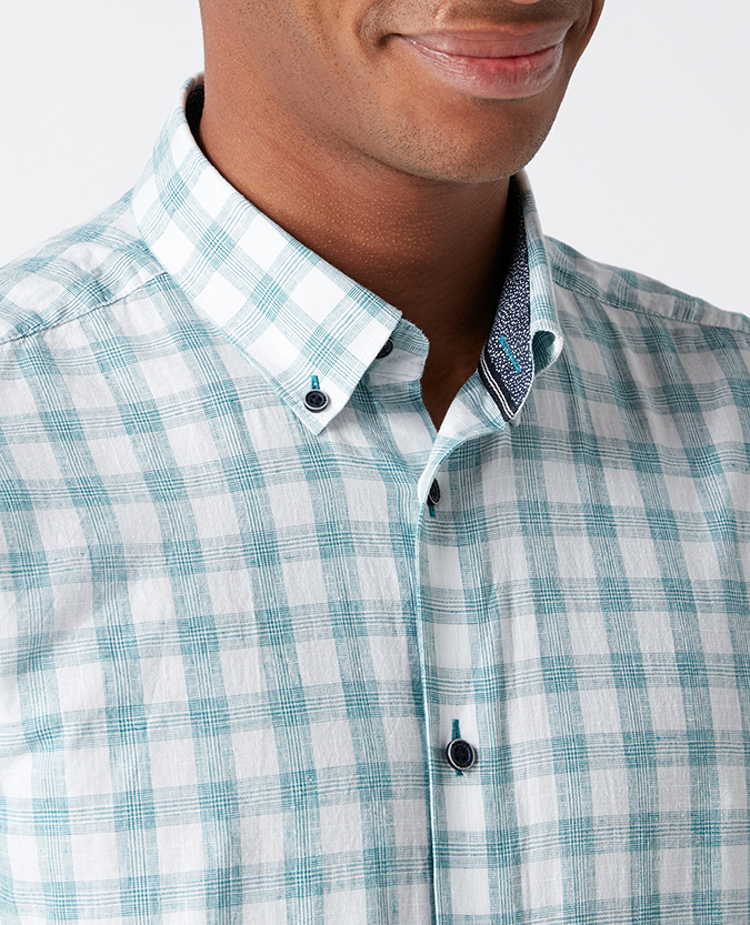 Slim Fit Checked Cotton-Blend Shirt