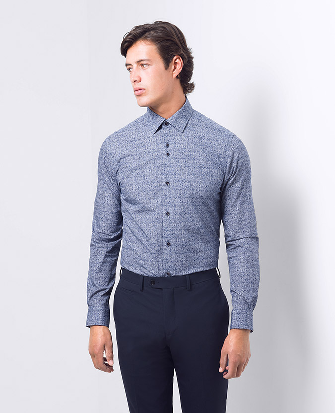 Tapered fit print cotton shirt