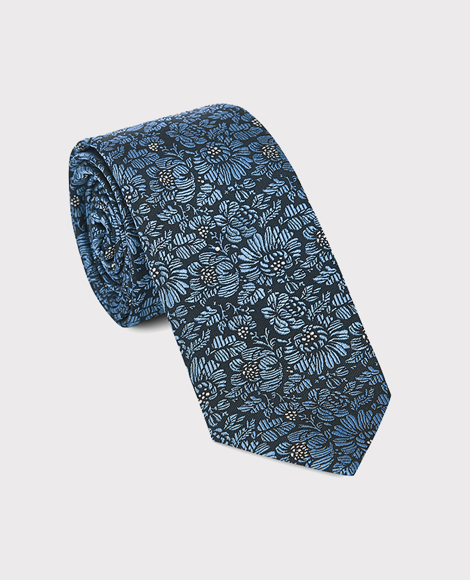 Pure Silk Floral Narrow Tie