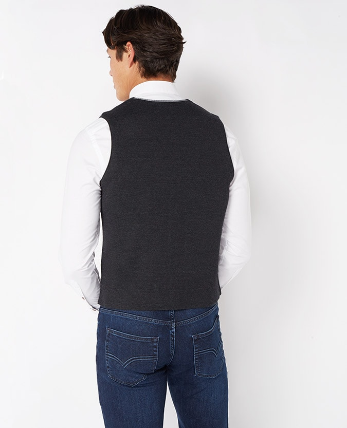 Fine Gauge Merino Wool-Blend Knitted Waistcoat