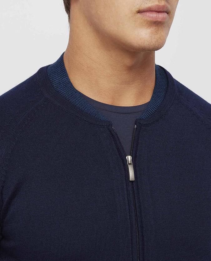 a68c2e8531 Slim Fit Merino Wool-Blend Full-Zip Sweater / Remus Uomo