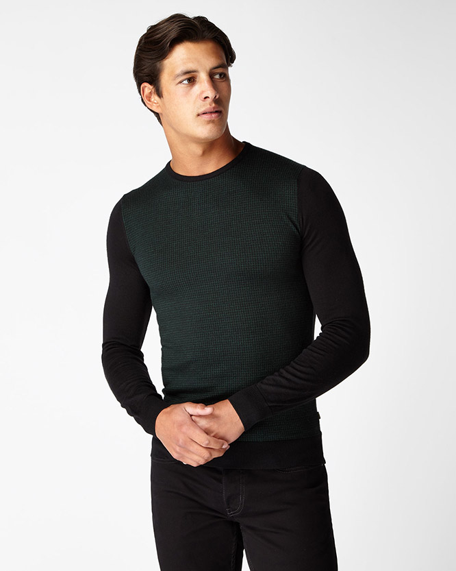3c7e7091f64f0 Slim Fit Merino Wool-Blend Crew Neck Sweater   Remus Uomo
