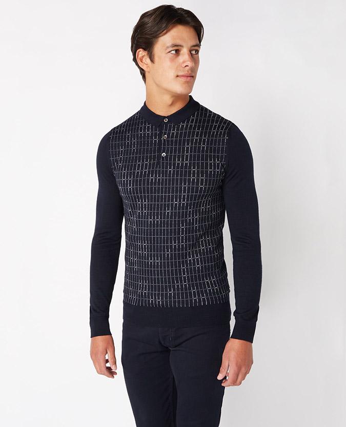 Slim fit merino wool blend long sleeve polo shirt remus uomo for Long sleeve wool polo shirts