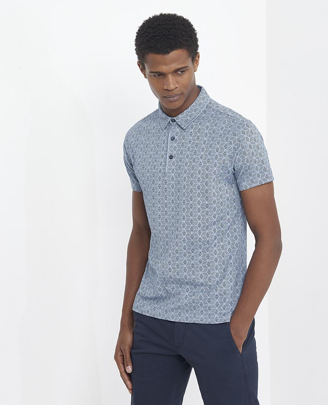 Tapered Fit Cotton-Blend Polo Shirt
