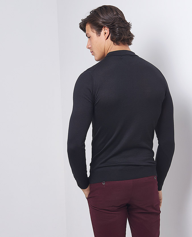 Slim Fit Merino Wool-Blend Half-Zip Long Sleeve Polo Shirt