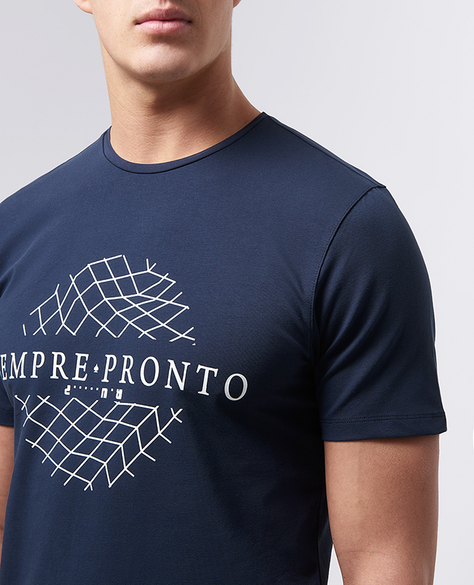 Tapered Fit Cotton-Stretch Graphic Print T-Shirt