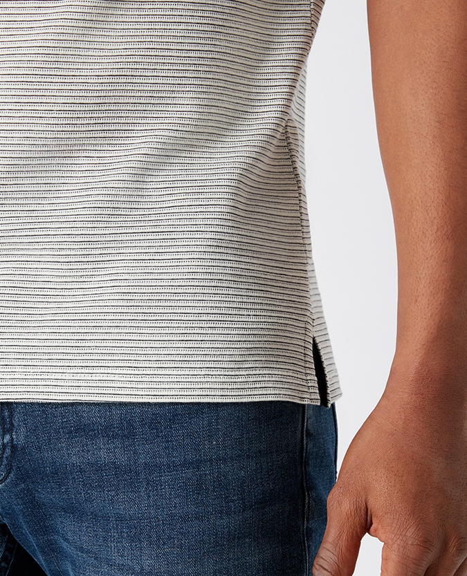 Tapered Fit Striped Cotton T-Shirt