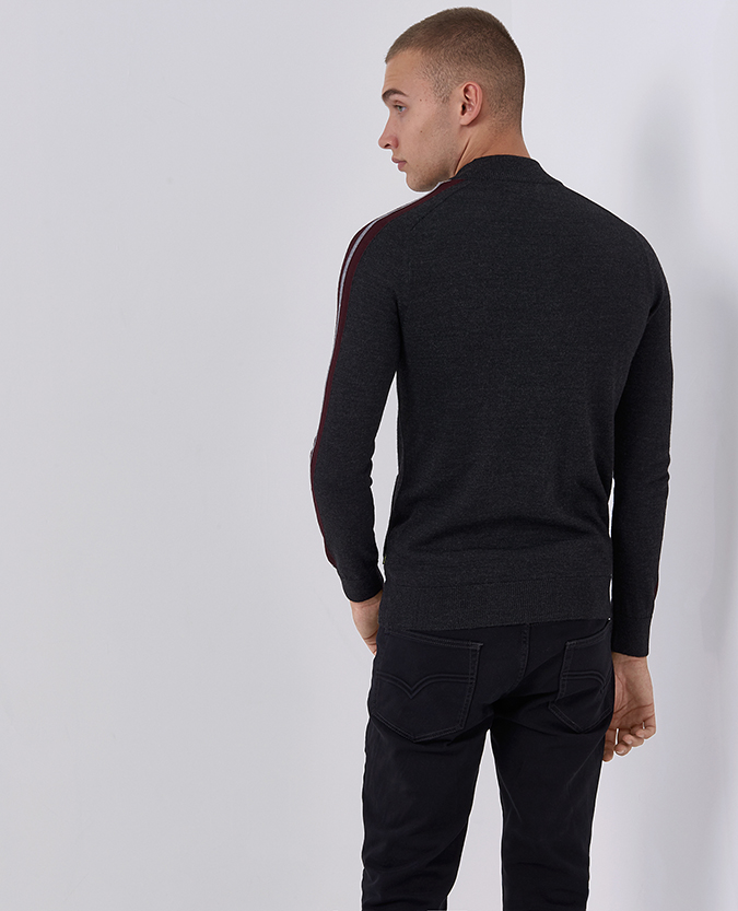 Tapered Fit Merino Wool-Blend Full Zip Striped Sweater