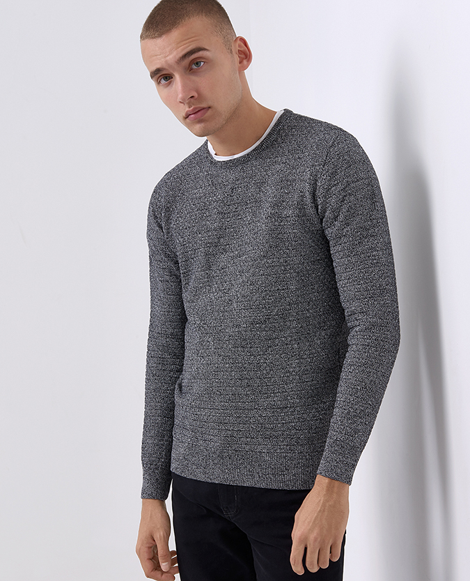 Tapered Fit Merino Wool-Blend Crew Neck Sweater