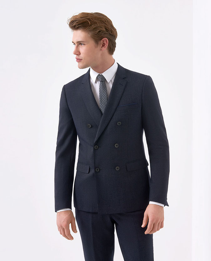 Slim Fit Wool-Stretch 2 Piece Double Breasted Suit