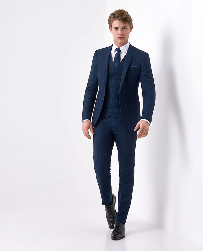 X-Slim Fit Pinstripe Pure Wool 3 Piece Suit