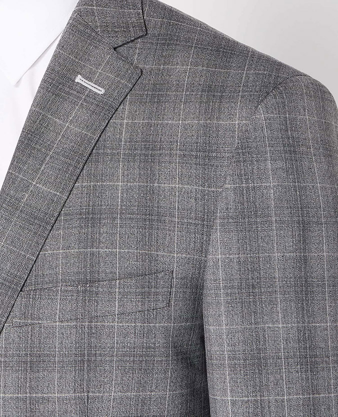 Tapered Fit Checked Wool-Rich Mix and Match Suit