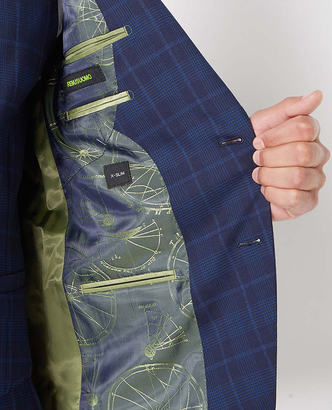 X-Slim Fit Checked Wool-Rich Stretch Mix and Match Suit