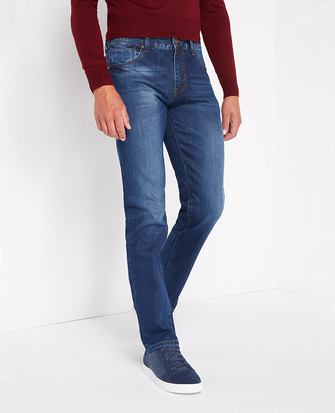 Straight Leg Stretch-Denim Jean