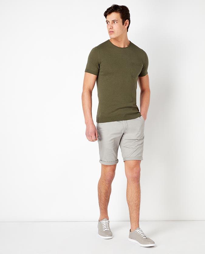 Slim Leg Cotton-Stretch Chino Shorts