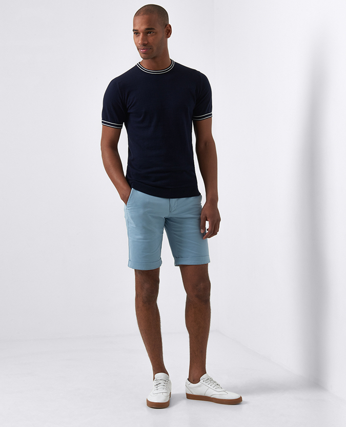 Slim Leg Cotton-Stretch Shorts