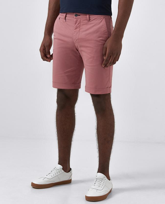 Slim Leg Cotton-Stretch Shorts