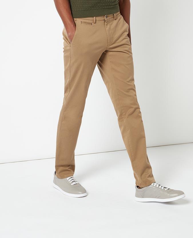 Slim Leg Garment Washed Cotton-Stretch Chino