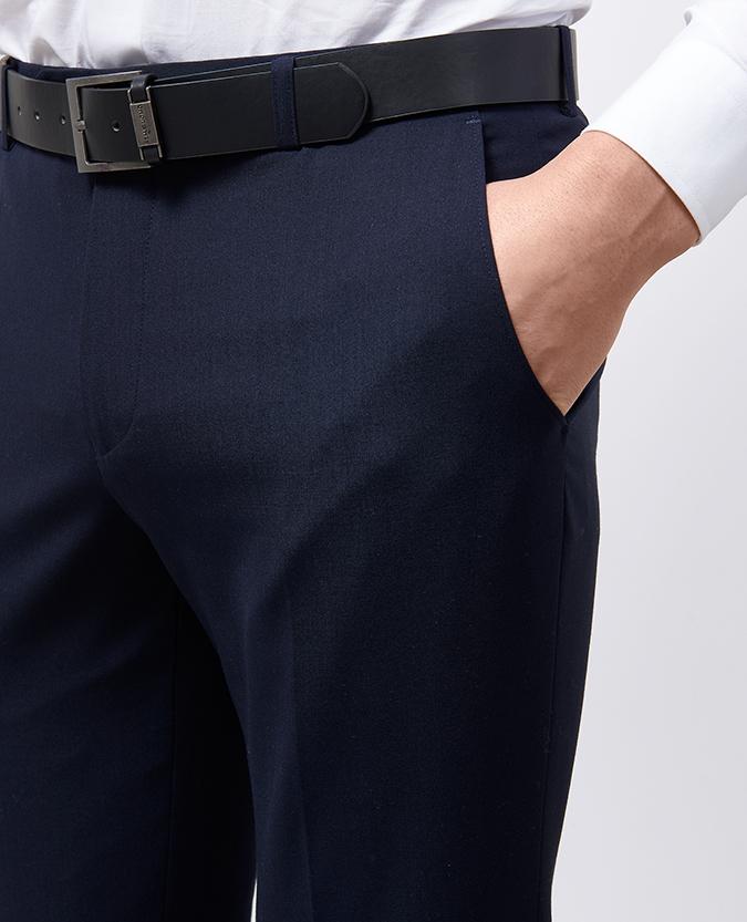 Slim Leg Wool-Blend Stretch Formal Trouser