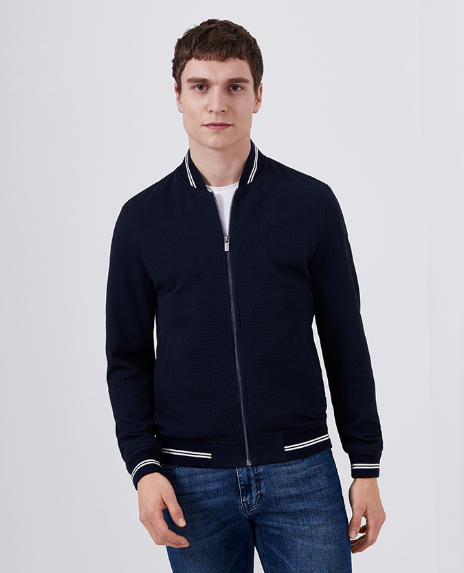 Slim Fit Cotton-Blend Bomber Jacket
